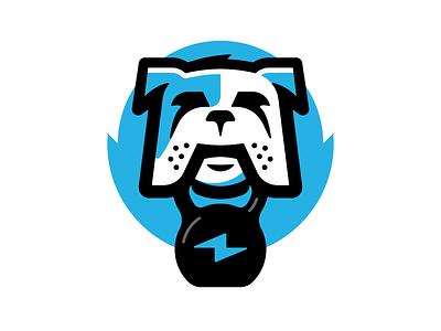 Logo Character gym workout identity kettlebell icon branding vector fitness animal design character illustration logo dog