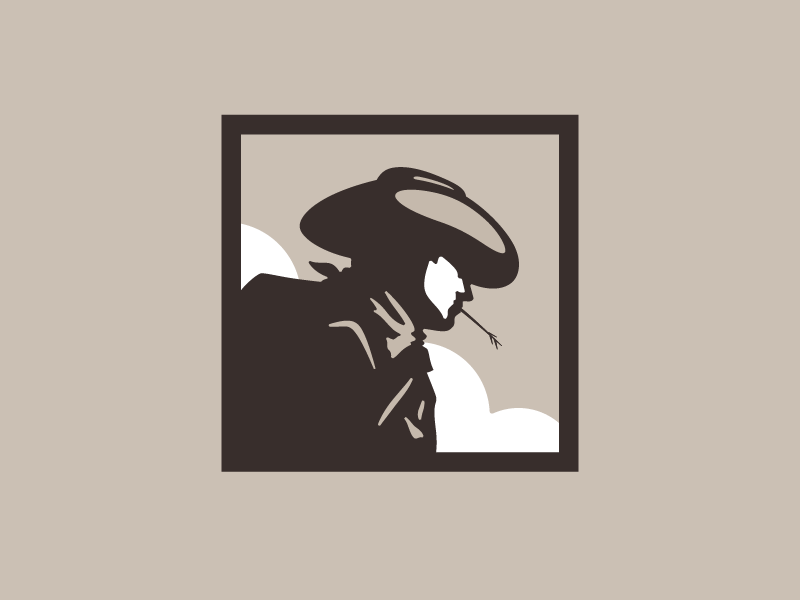 Cowboy Logo identity character design vector simple iconic icon western ranch hat food cowboy illustration logo