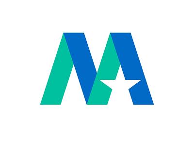 Monogram M Logo simple vector typography branding star icon design identity letter m logo