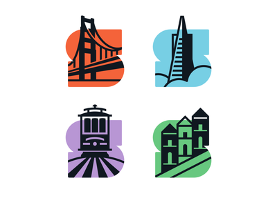 City Logo Icons transamerica trolley golden gate san francisco tourism identity simple iconic design typography vector branding icon illustration logo