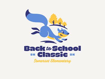 School Event Logo identity character education event branding vector icon design animal squirrel illustration logo