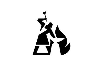 Blacksmith Logo hammer anvil flame fire people blacksmith identity branding simple design illustration logo