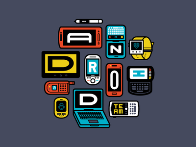 Android Team illustration vector android phones watches teams color