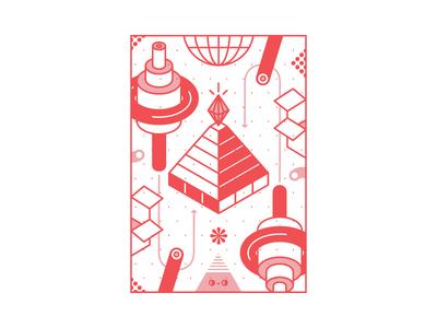 random fun gem pyramid box pink random