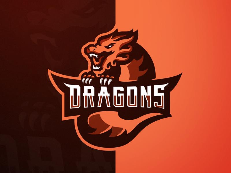 """Dragons"" eSports Logo chinese culture chinese dragons dragon design branding vector logos logo illustration gaming logo gaming for sale esports logos esports esportlogo aggressive"