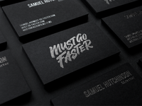 Must Go Faster foiled business cards