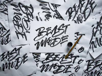 Beast Mode calligraphy