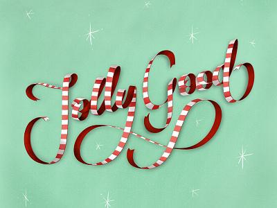Jolly Good festive type lettering ribbon christmas good jolly