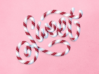 Sweet sweet illustration type lettering cane candy christmas
