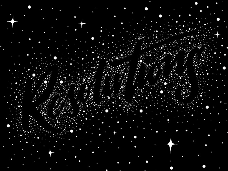 Resolutions space galaxy stars lettering resolutions new year