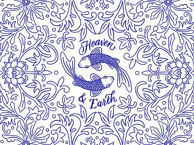 Heaven & Earth symmetry koi porcelain pattern floral lettering