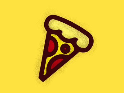 Pizza slice icon sing pizza logo illustraion food yellow doodle slice pizza