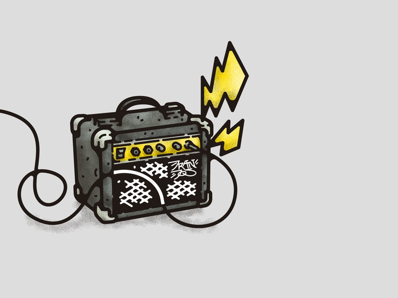 At full volume ray amplifier icon retro power musical instruments music punkrock punk rock and roll rock illustrations cartoon branding typography design illustration decoration vector doodle