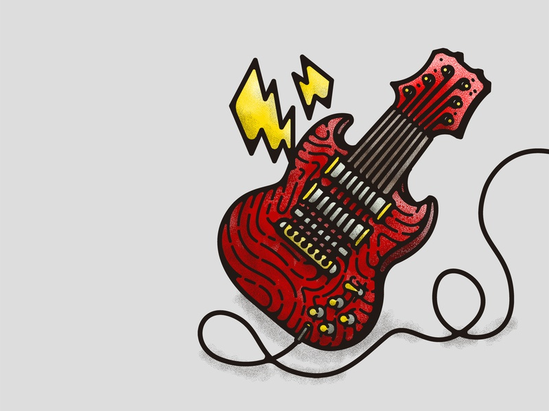 Tasty Rock and Roll metal power music musical instrument punk rock punkrock punk rock and roll rock electric guitar guitar branding typography illustration illustrations vector cartoon design decoration doodle