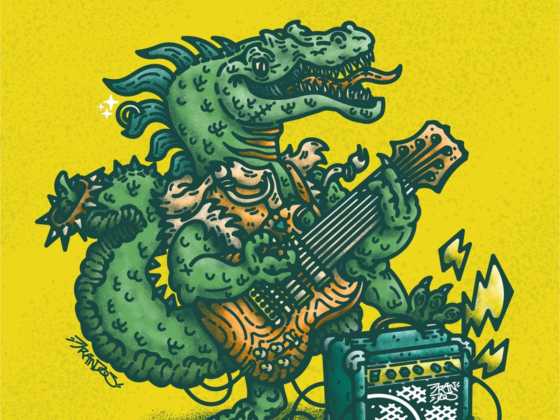 Raptor Punky guitar dinosaur t-rex reptiles amplifier icon power rock rock and roll punkrock punk music design illustrations cartoon illustration doodle vector decoration