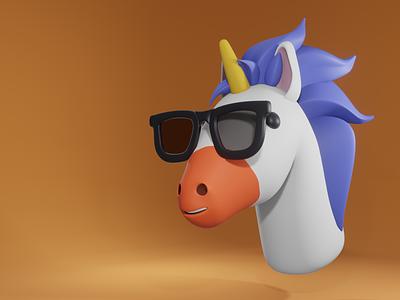 3D Unicorn illustration branding mascot design blender 3d