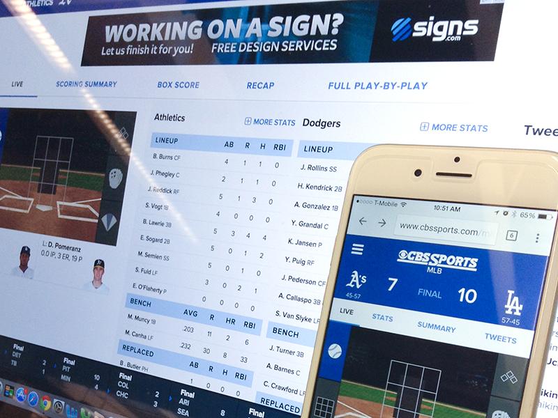 CBSSports.com Baseball Gametracker  responsive ux design ui design design baseball cbs sports mobile