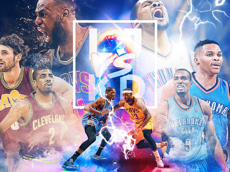 LJ v KD digital art typography basketball cavs okc thunder cavaliers kevin durant nba lebron james