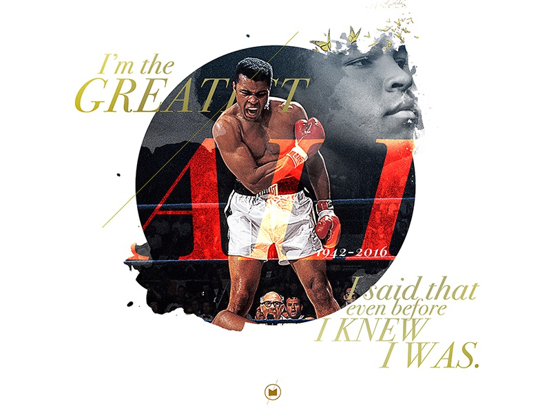 Ali Tribute design digital art butterflies ali fighter boxer the greatest muhammad ali tribute typography