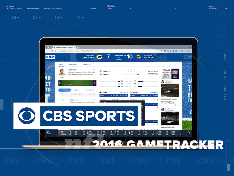 2016 CBSSports NFL Gametracker sketch ux design ui design nfl responsive mobile design cbs football