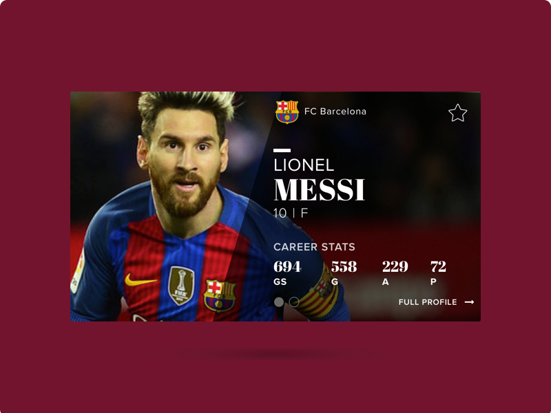 Lionel Messi player card UI flinto sketch visual design design soccer fcbarcelona messi ui