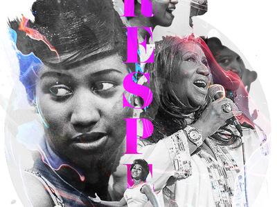 Respect - Aretha Tribute rip respect aretha photoshop digital art graphic design design typography