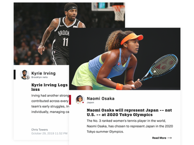 Sports News Cards product design typography nfl football tennis nba ui design editorial sports