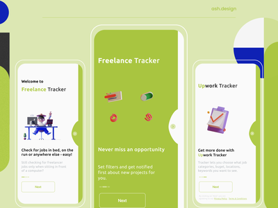 Freelance Tracker | App icon branding typography ux design intro screen onboarding figma ui illustration 3d art notifications app design