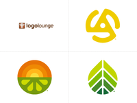 LogoLounge 2018 Trends Report 45 record lime sunrise leaf trend logolounge logo