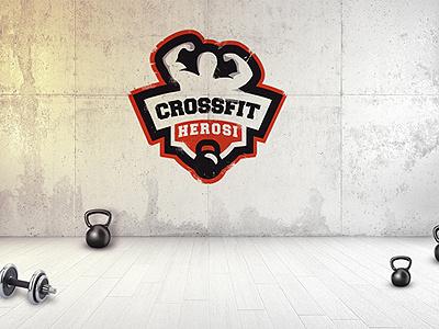 Crossfit Herosi logo proposal man power kettlebell kettle muscles gym sport hero heros logo crossfit