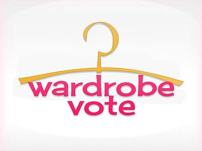 Logo, identity, wardrobe logo identity wardrobe vote graphic pink yellow