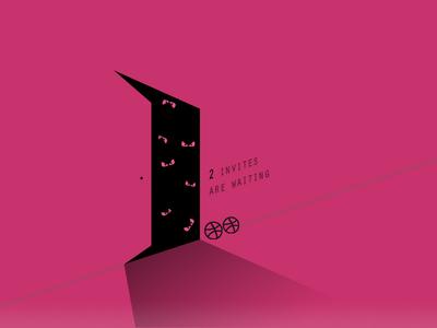 2X Dribbble Invitation dark pink black eye ghost flat dribbble invitation