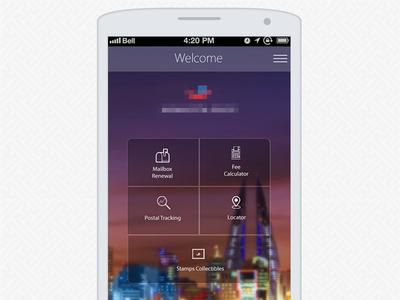 Bahrain Post app ui ios android post app main navigation menu