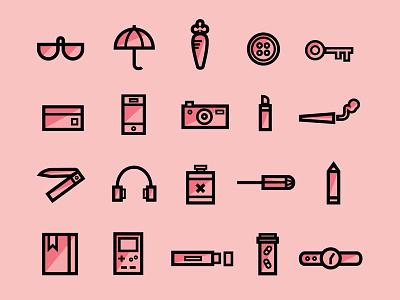 Bits n bobs tampon headphones notebook pills watch camera phone key carrot umbrella glasses pencil