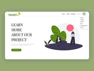 Trashket Landing ui ux uiux website web ecommerce recycling center recycle modern trendy undraw illustration design figma