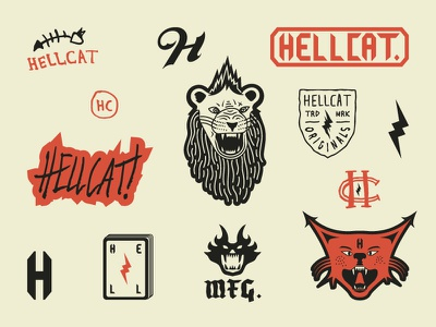 Hellcat Manufacturing Co. hellcat california los angeles typography logos branding