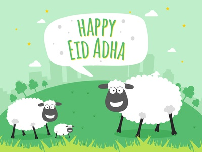 Happy Eid Adha - Vector Greeting Card Illustration With Sheep