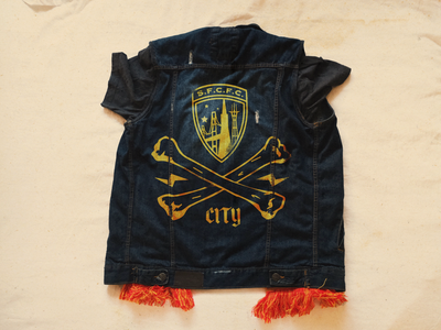 vest brand design logo scarf punk fan badge sfcityfc football crest denim vest soocer illustration branding san francisco