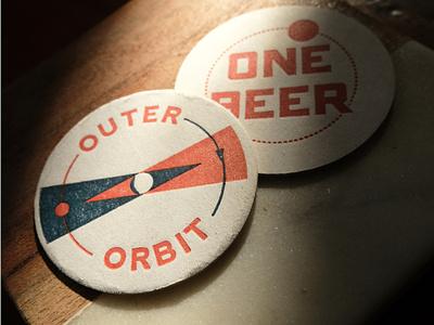 Outer Orbit Pogs coaster design logo restaurant spaceship pinball mid century modern space pogs brand design illustration branding san francisco