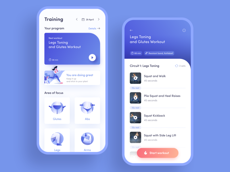 Workout Pages for Fitness App by Ngoc Dang on Dribbble