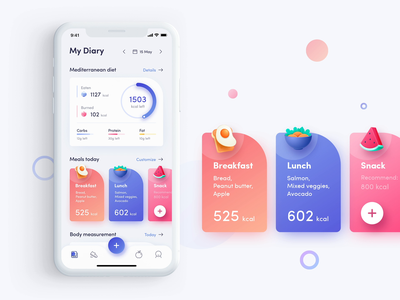 My Diary Page for Fitness App Interaction interaction calories tracking meals mobile ui fitness app animation illustration design app ui
