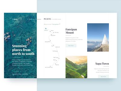 Next Flow of Travel Guide Web Concept interaction animation vietnam travel web design design ui