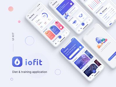 Diet & Training App UI Kit meal training diet ui kit meals calories tracking mobile ui fitness app app illustration design ui