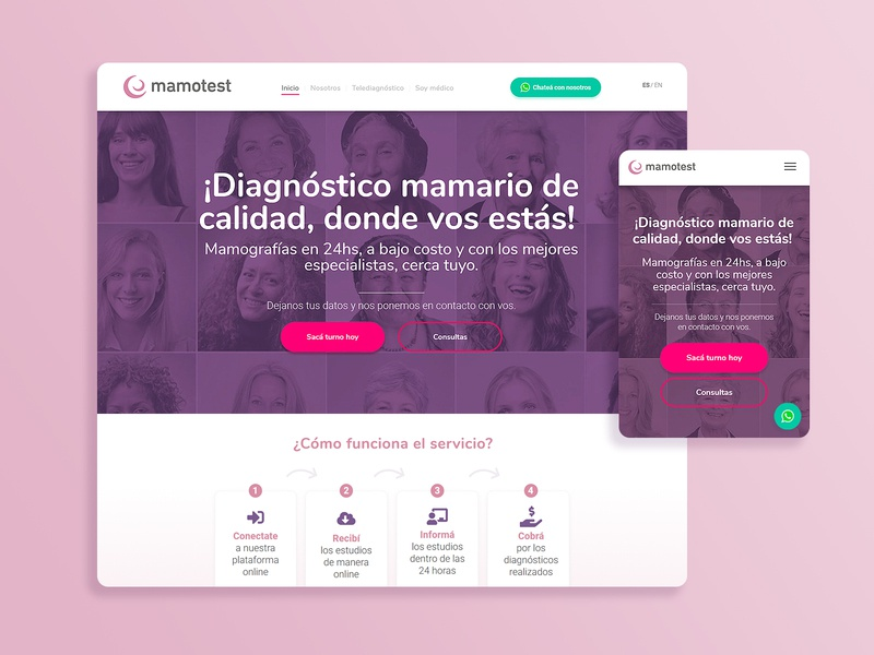 Mamotest  |  Micrositio Institucional website brandformance whatsapp diagnosis brest