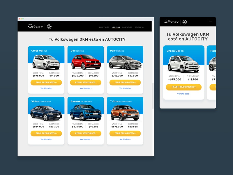 Autocity Rolen | Layout Design grid volkswagen vw automotive landing page landing