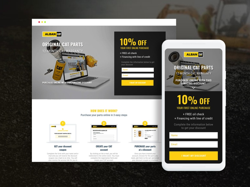 CAT PARTS | Landing Page discount caterpillar mobile landingpage landing cat