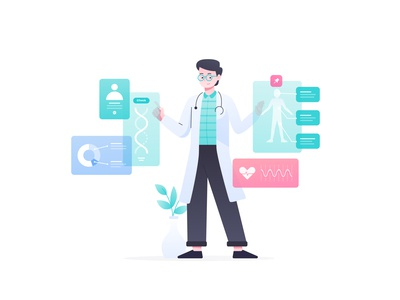 Modern Doctor Illustration analysis analyze uiux ux ui data healthcare health app health doctor creative vector flat illustration character illustration vector illustration illustrations