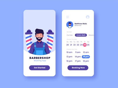 Barbershop Booking Apps Concept uiuxdesign booking booking app barber barbershop mobile app mobile ui vector ux uiux character flat illustration illustration ui vector illustration illustrations