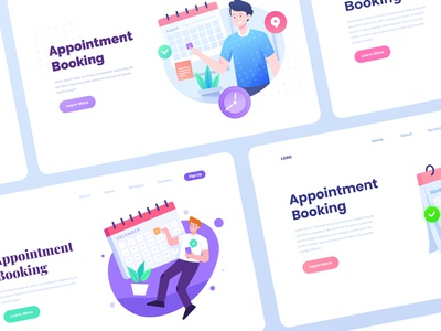 Appointment Booking App Concept character design app booking booking app appointment appointment booking landing page character flat illustration illustration vector illustration illustrations