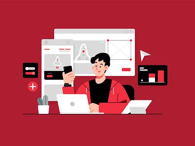 Work Routine Illustration Concept vector illustration kit design work red character flat illustration illustration vector illustration illustrations